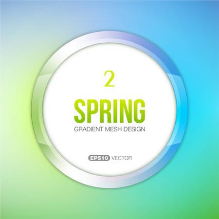 springtime: Part of Four Seasons vector set. Round frame with springtime theme color palette.
