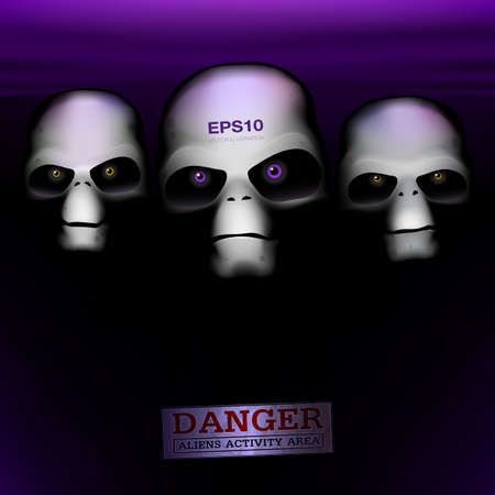 humanoid: Three alien humanoid faces on a dark background Stock Photo