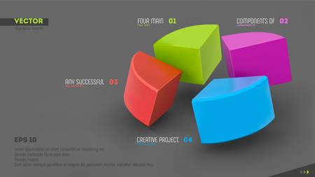 Banner de infografía vectorial 3D con cuatro sectores de color y lugar para el texto. Eps10.