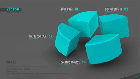 3d vector infographic banner with four color sectors and place for your text. Eps10.