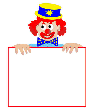 board: Clown Holding a Blank Sign - Vector Illustration