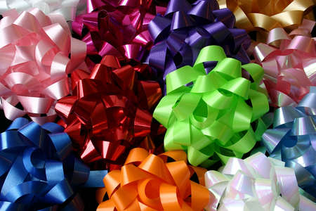 Top View of Several Multicolored Bows