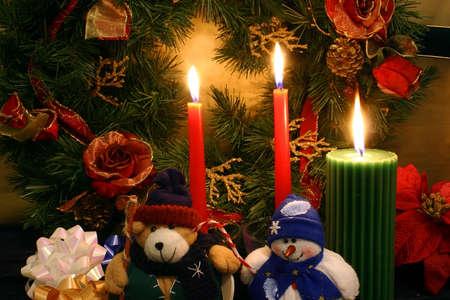 teddy wreath: In the X-mas Spirit, One Stuffed Teddy Bear and One Stuffed Snowman