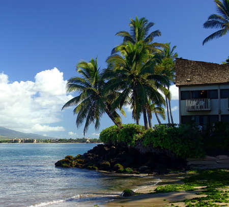 House on the Edge of the Ocean in Kihei, Hawaii Stock Photo