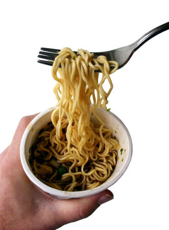 eating noodles: Eating Noodles from a Styrofoam Cup
