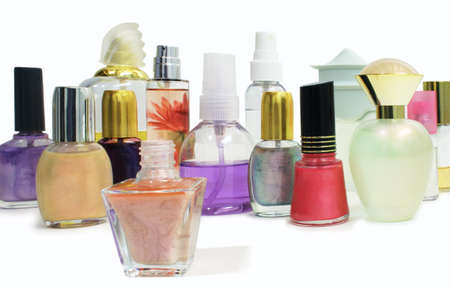 Several bottles of nail polish and perfume are displayed.