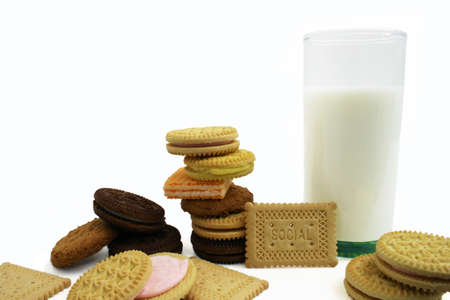 collation: Cookies and Milk Stock Photo