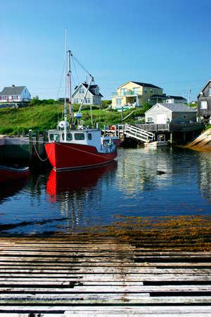 Fishing Village Under a Blue Sky Stock Photo