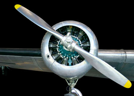This is an old aircraft propeller. Stock Photo