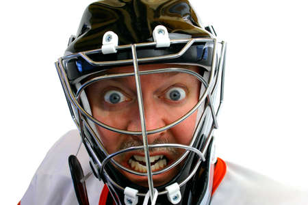 Mad Hockey Goalie Stockfoto