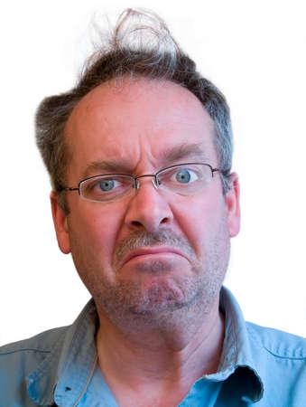 Grumpy Man with Unkempt Hair