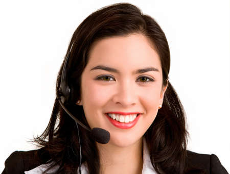 Beautiful Smiling Woman Wearing Headset