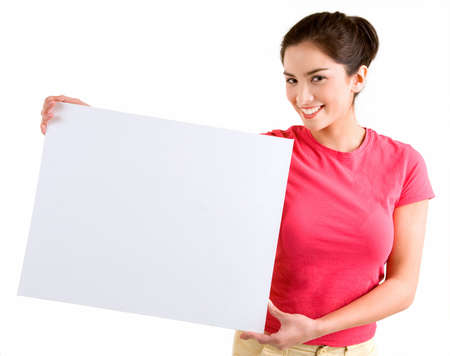 Girl Holding a Blank White Sign Standard-Bild