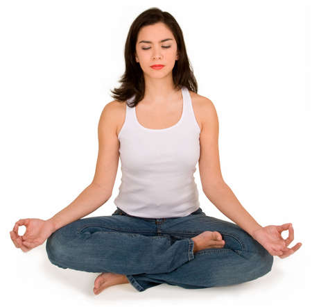 Beautiful Young Girl Meditating Standard-Bild