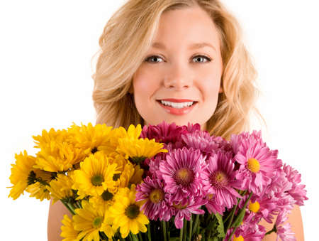 A young pretty woman has just received flowers.