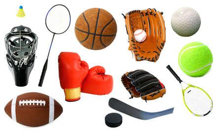 여러 스포츠 아이템의 배열.
