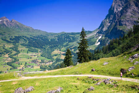 Hiking near Grindelwald in the Canton of Bern in Switzerland Stock Photo