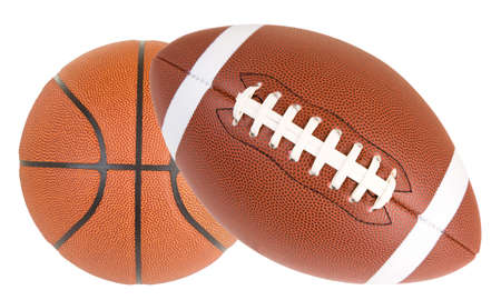 Close-up of a basketball and a football