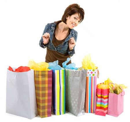 若い女性、買い物に 写真素材