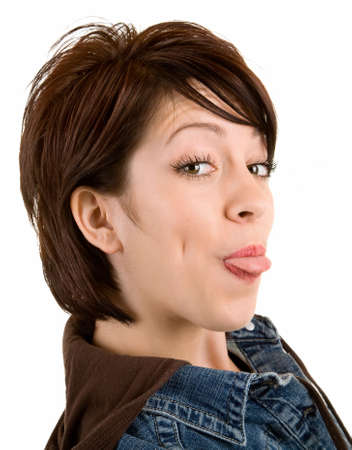 Closeup of woman sticking out her tongue photo