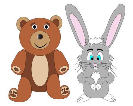 Cute Teddy Bear and Rabbit Vector Иллюстрация
