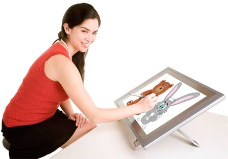 デジタル タブレット女性図面