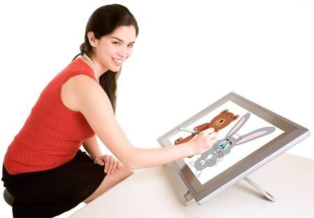 Vrouw Steunend op een Digital Tablet Stockfoto