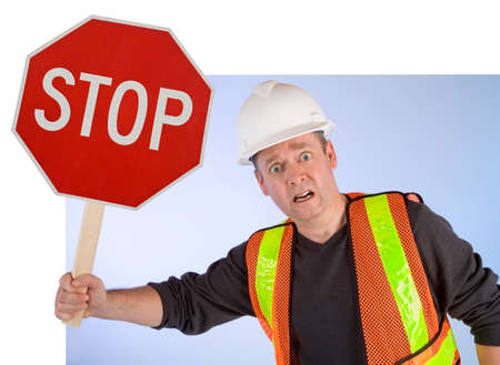 stoppage: Conceptual Construction Worker Asking to Stop Doing Something