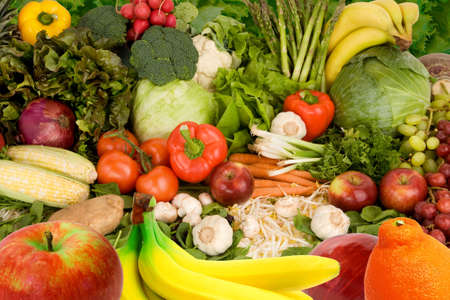 produce: Colorful Fruits and Vegetables Stock Photo