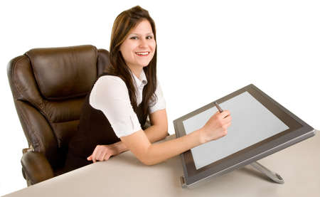 Woman Drawing on Digital Tablet Stock Photo