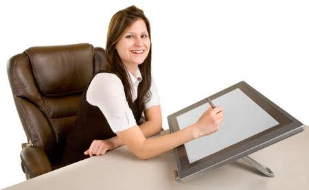 femme dessin: Woman on Digital Drawing Tablet Banque d'images