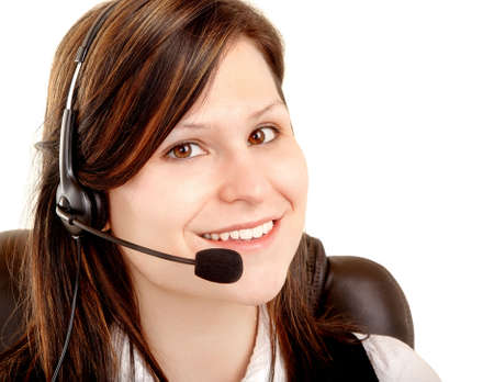 Beautiful Smiling Woman Wearing Headset Stock Photo - 4780723