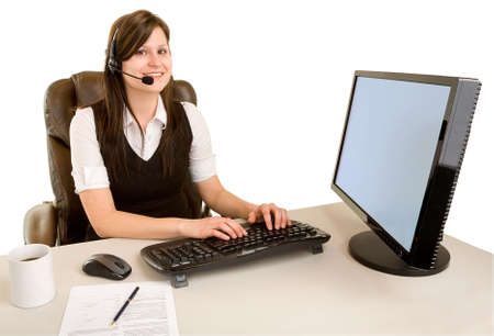 Smiling Businesswoman Wearing Headset and Looking at Camera photo
