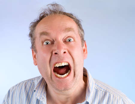 uptight: Man Screaming about Something Stock Photo