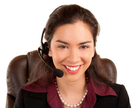 Beautiful Smiling Woman Wearing Headset Stock Photo - 5355608