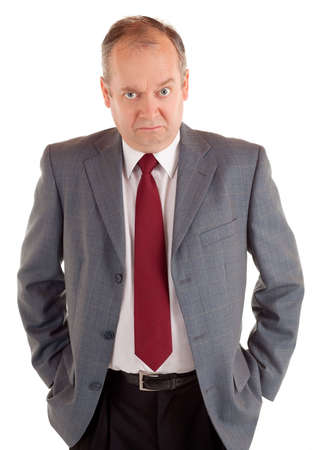 enraged: Serious Businessman with a Scowling Expression Stock Photo