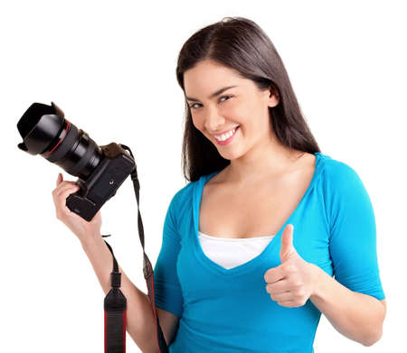 Young Lady Photographer Stock Photo