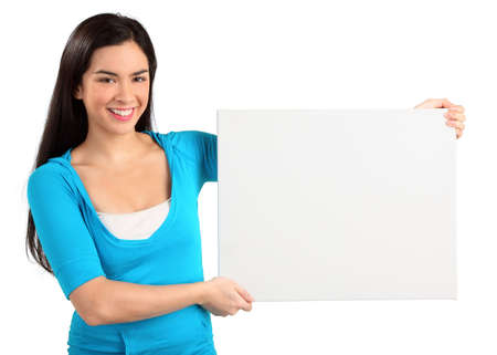 publicize: Young Woman Holding a Blank White Sign Stock Photo