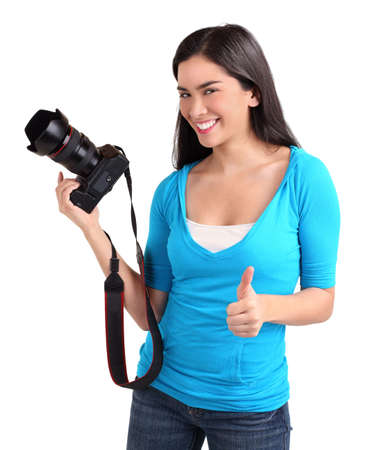 Young Lady Photographer had a Successful Photo Shoot  photo