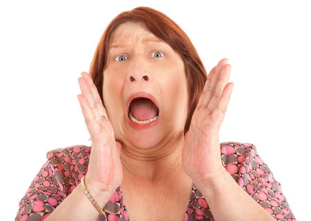 turmoil: Woman Shouting for Help Stock Photo