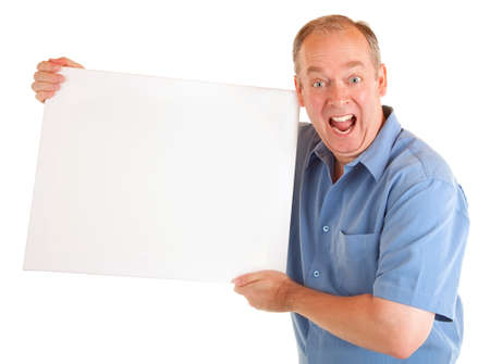 Man Holding a Blank White Sign Stock Photo