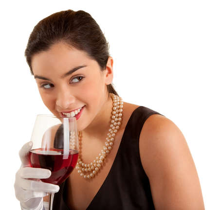 Beautiful Woman Holding Glass of Wine Looking Sideways
