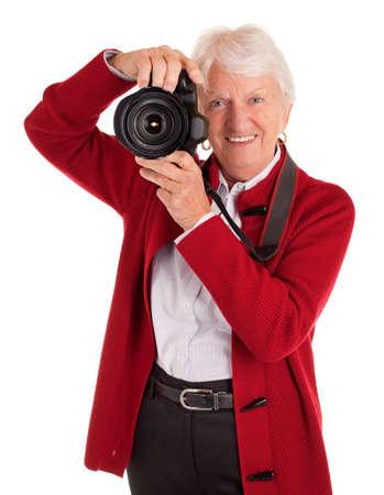 Senior Female Photographer Photographing You photo