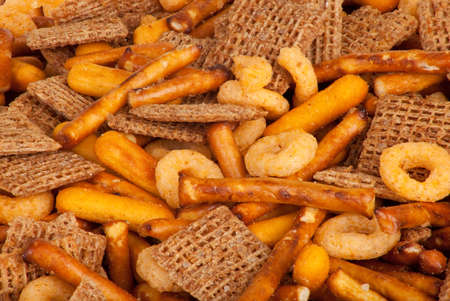 snacks: Salted Snack Mix Close up