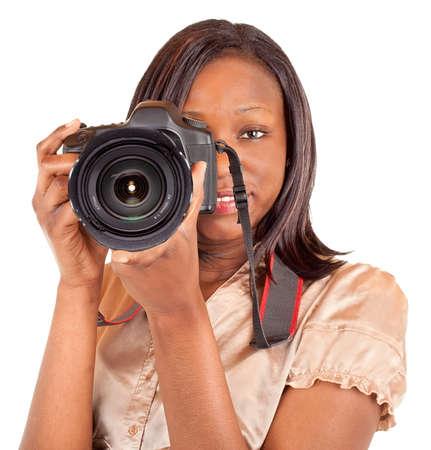 amateur: Fot�grafo estadounidense femenino Foto de archivo