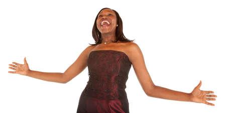アフリカ系アメリカ人の女性が何かについて大喜び