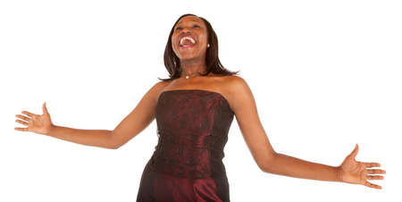 suddenness: African American Woman Overjoyed about Something