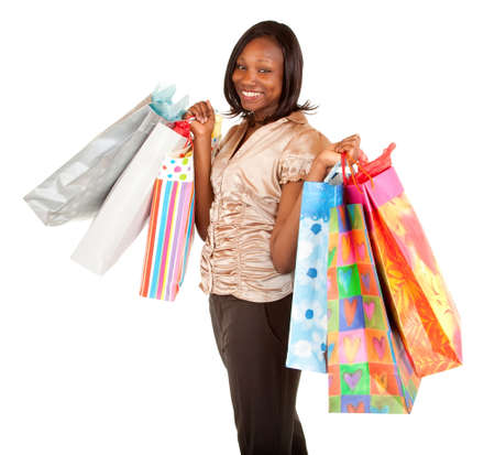african american woman: African American Woman on a Shopping Spree