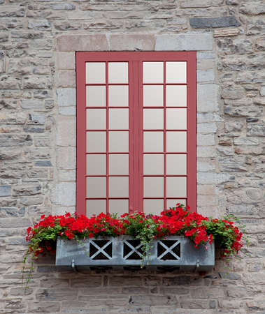 flower boxes: Old Window Stock Photo