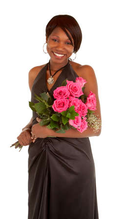 Happy African American Woman Posing with Roses  photo